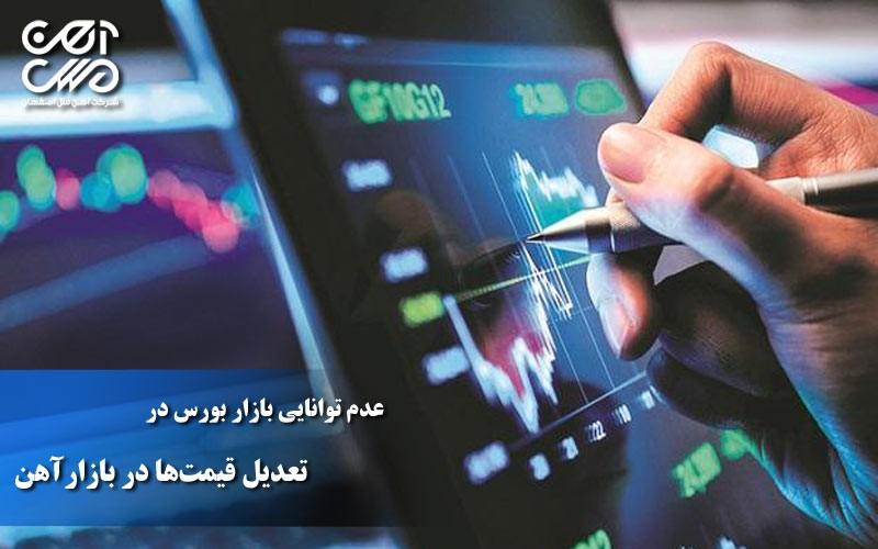 عدم توانایی بازار بورس در تعدیل قیمت ها در بازار آهن